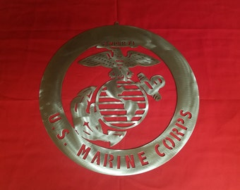 Metal Art-Marine Logo-Wall Decor-Military Steel Plaque Logos-Sign shops