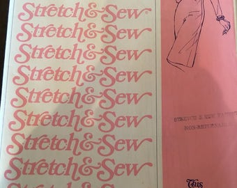 Vintage 80s Stretch and Sew 1500 Dress Pattern-Bust Sizes 30-42