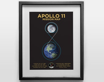 Apollo 11 Poster: Mission Map print, Earth to Moon landing, NASA, Space, Neil Armstrong, Buzz Aldrin