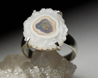 Rock Crystal Flower Silver Ring art 8818   Natural Organic Quartz Sterling Silver Fine Jewelry