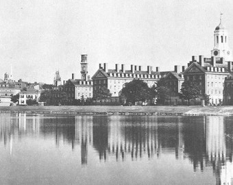 Harvard Houses view across the Charles River - 1936 many sizes - Cambridge beautiful reflection black and white Harvard Poster Framable