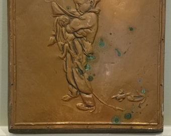"""Vintage/Antique Copper Bas Relief Wall Plaque/ """"And So To Bed""""/ Nursery Decor/ Primitive Art/ Arts and Crafts Movement/ Repousse"""