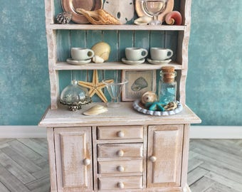 Miniature kitchen cabinet, dollhouse hutch, miniature beach furniture