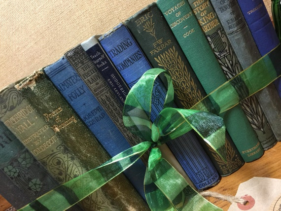 GREEN and BLUE Vintage Book Collection - Old Books Decoration - Foot Long 11-13 Shelf Staging - OCEAN colours Home Decor - Custom Sourced
