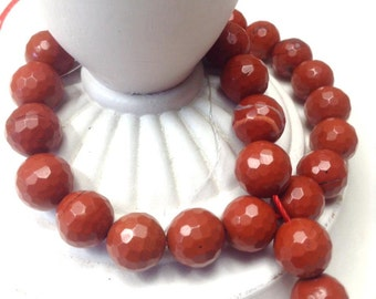 Red Jasper Multi Faceted Beads 10mm, Gemstone Beads,