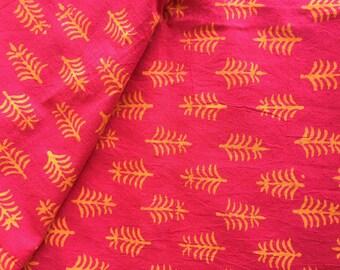 Block Print Fabric, Indian Fabric, Tree print Fabric,Boho Print, Indian Cotton, leaf print, By the Yard,Tribal Print,5 color ways-check pics