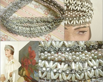 Simply divine and very rare, 1910-1920 headband, tiara, woven from real silverband with mother-of-pearl, France....CHARMANT!