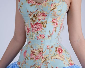 Cotton Overbust Corset inspired by Cinderella, Blue corset, Waist Training, Corsetry, Cinderella Cosplay, Rococo style, rose, pink corset