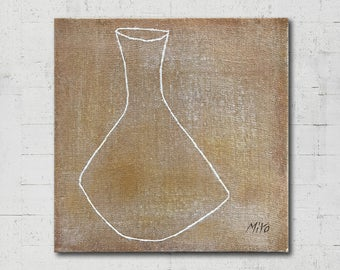 Original Oil Painting - White Pottery (Long Neck), Canvas Art, Modern Vintage Simple Oriental Eastern, Ceramics Drawing, 28x28