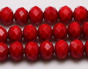 """Red 8x6mm Faceted Rondelle Natural Jade Gemstone Beads (16"""" Strand)"""