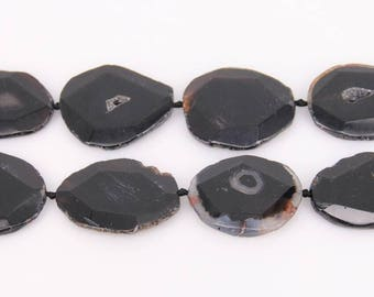 Polished Freeform Thick Slab Loose Beads,Cut Raw Natural Black Color Druzy Agate Drilled Beads Pendant,7PCS,40-46x50-56mm