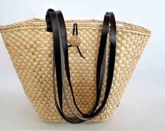 Woven Straw Bag,  Large Woven Straw Tote, Straw Shoulder bag with leather Stripes, beach bag, Summer Shoulder Bag,
