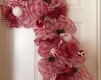 Red and White Candy Cane Peppermint Wreath
