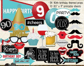 Photo Booth Props, HAPPY 90TH BIRTHDAY, boy, printable sheets, instant download, red, aqua, gold, party idea