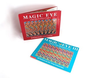 Magic Eye books I and III - 3D Illusions by N.E. Thing Enterprises - 1994, 1995 - fun vintage coffee table books!