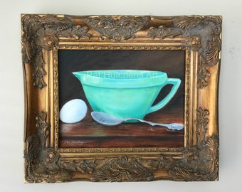 "gift ""The Batter Bowl"" kitchen art, oil painting, green and white ,midcentury, jadeite. art deco, vintage kitchen"