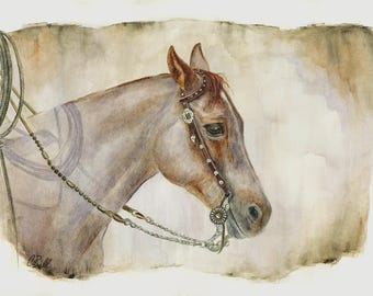 Original Roan Horse Watercolor, Western Watercolor Horse Painting, Bridle Horse Painting, Western Art  15 x 22 inches
