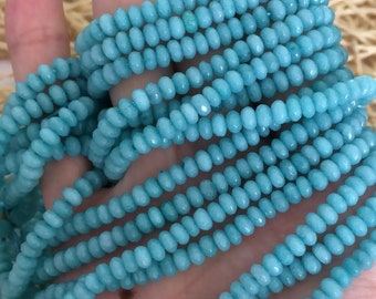 One Full 15 inch Strand 2x4mm Tiny Faceted Rondelle Blue Amazon Stone Beads SKU-G169