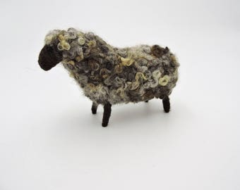 Brown Wool Sheep, Farm Decor, Rustic Easter Decoration, Easter Mantle, Spring Decoration, Home Decor, Needle felted Animal, Wool sculpture