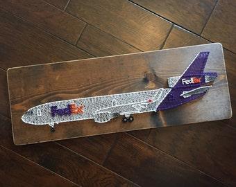 FedEx Airplane String Art Aviation
