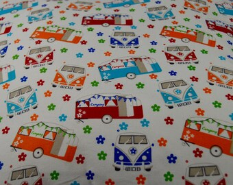 Bright colourful camper vans and caravans cushion