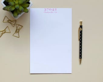 Personalized Zip Code Notepad / City Notepad / State Notepad