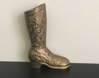 Etched Brass Boot / Mini Vase