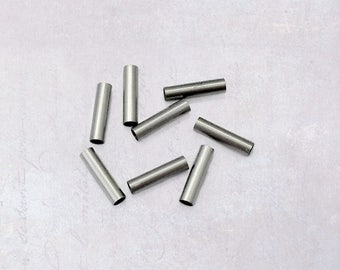 50 x Stainless Steel Small 10mm Tube Beads