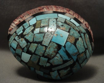 76 Grams The Largest Zuni Turquoise Shell Ring