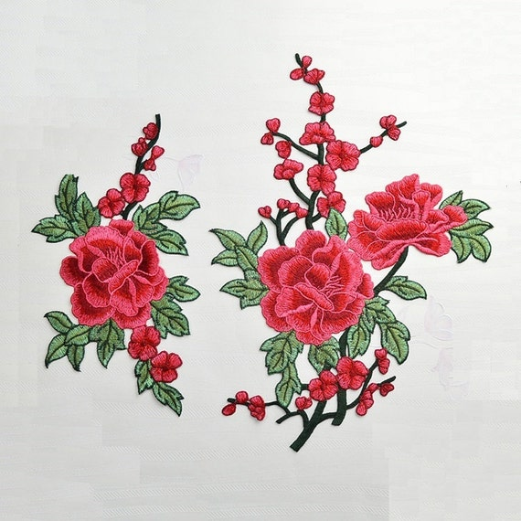 Vintage Flower Applique Patterns: A Pair Delicate Embroidered Red Floral Applique Patch