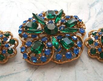3 piece Vintage Rhinestone Earrings and Brooch Set,clip on earring,gold tone,blue rhinestones,green,craft repair,repurpose,wearable