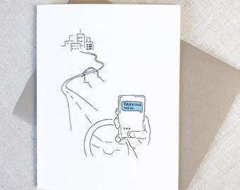 Funny Friendship Card, Best Friend Card, PARKING NOW Card, Texting Card, Text Message Card, Best Friend Birthday, New Car Card,