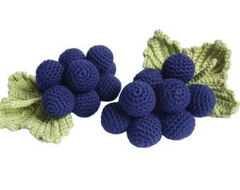 Crochet Grapes-Play Pretend Food Crochet Berries Kitchen Decor Montessori Toys Kitchen Play Food