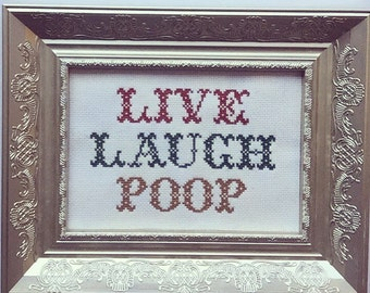 LIVE LAUGH POOP Finished and framed cross stitch.