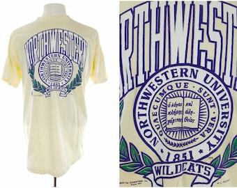 80s Northwestern University Wildcats Off-White T-Shirt, Vintage Mens XXL (XL)