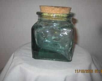 antique vintage square glass apothecary jar w/ cork top very unique