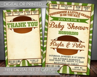 Football Baby Shower Invitation, Football Baby Shower Invite, Football Baby Sprinkle Invitation, Digital File and Printed #567