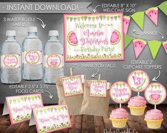 Watermelon Party Package, Watermelon Party Pack, Watermelon Party Kit, Pink, Summer Birthday, Printable, Instant Download, Editable #640
