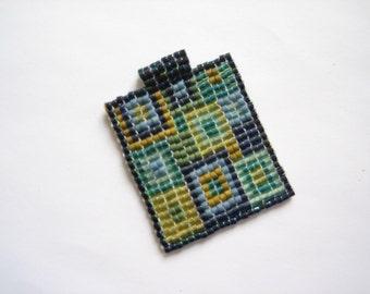 Glass pendant, bead woven pendant, mosaic glass, square pendant, seed bead pendant, blue glass, beaded pendant, handmade beaded, beadweaving