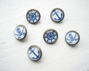 Nautical buttons (6pcs), 13mm glass buttons, blue and white, pirate button, anchor buttons, ships wheel button, set of 6 nautical, hand made