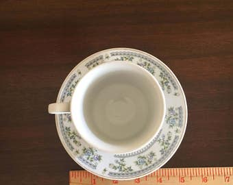 Vintage Teacup and Saucer 70's FTD Gray rose pattern extra touch