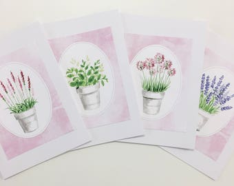 Hand painted watercolour flower pots cards