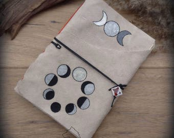 Moon Phases A5 leather journal, Triple Moon suede notebook, moon book of shadows diary, softcover leather bound and hand painted sketchbook