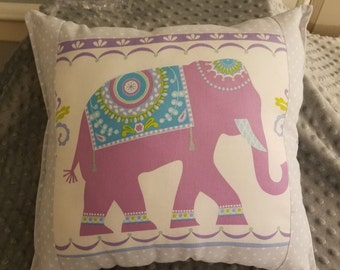 Elephant pillow, nursery/child's elephant pillow, accent pillow, throw pillow, reversible pillow, washable pillow, baby gift, shower gift