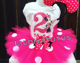 Handmade minnie mouse second birthday pink tutu set