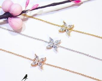 Four Stone Clover Bracelet Cz 925 Silver Yellow Rose Gold