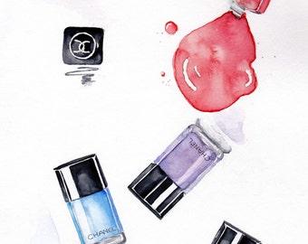 Chanel Nailpolish print, print of original watercolor painting.