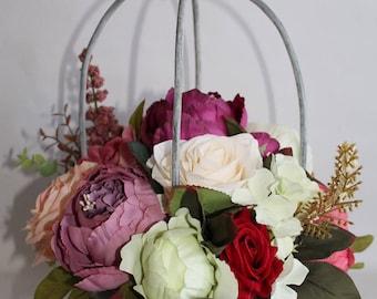 Artificial flower arrangement, faux flowers, birdcage, basket flowers, mothers day, rustic, peonies, centerpiece, wedding flowers, roses