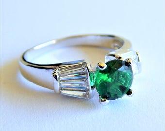 Green Quartz CZ Sterling Silver Topaz Ring
