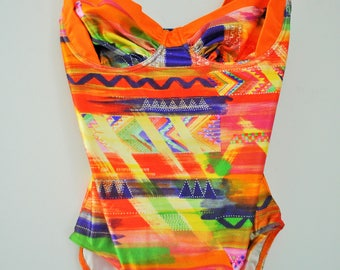 Vintage One Piece Swimsuit / Small / S / 36 / 90s / Orange / Colourful / Bathing suit / Swimwear / Leotard / Onepiece